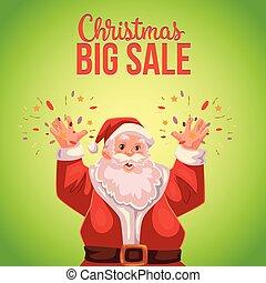 Christmas sale banner with cartoon half length Santa Claus portrait