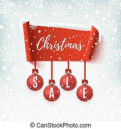 Christmas Sale banner with christmas tree decorations.