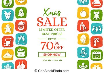Christmas sale banner with flat icons. Vector background.