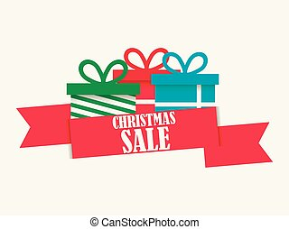 Christmas sale banner with gift box on white background. Special offer. Poster for advertisements, festive design. Vector illustration