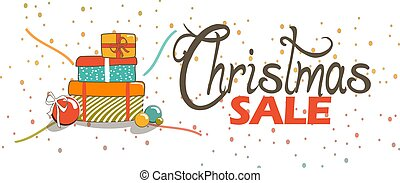 Christmas Sale Banner with Gift Boxes