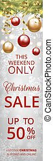 Christmas sale banner with gray snowflakes background, ...