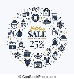 Christmas sale banner with icons.
