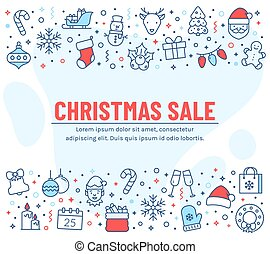 Christmas sale - banner with outline icons. Vector.