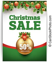 christmas sale banner with traditional decorations
