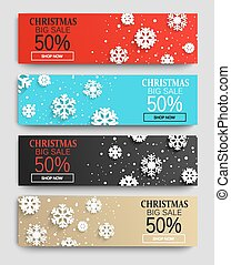 Christmas sale banners set with snowflakes.