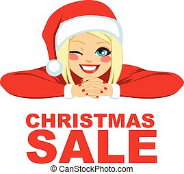 Christmas Sale Blonde Woman