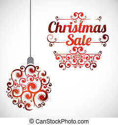 Christmas sale card over gray background vector illustration