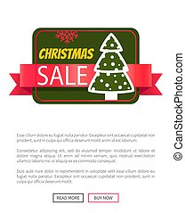 Christmas Sale Card with Tree Vector Illustration