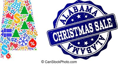 Christmas Sale Collage of Mosaic Map of Alabama State and Grunge Stamp
