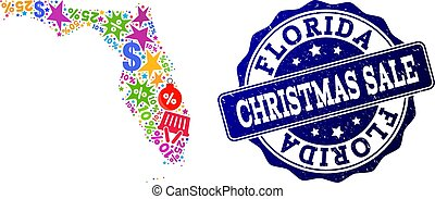 Christmas Sale Collage of Mosaic Map of Florida State and Scratched Seal