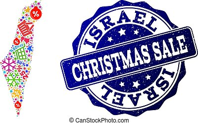 Christmas Sale Collage of Mosaic Map of Israel and Textured Stamp