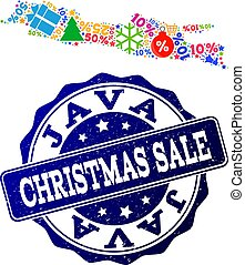 Christmas Sale Collage of Mosaic Map of Java Island and Distress Stamp