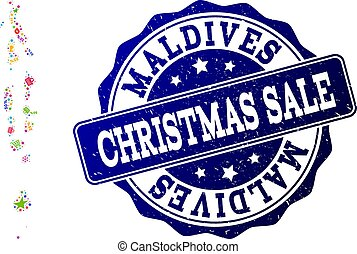 Christmas Sale Collage of Mosaic Map of Maldives and Grunge Seal