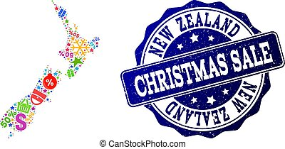 Christmas Sale Collage of Mosaic Map of New Zealand and Grunge Seal