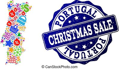 Christmas Sale Collage of Mosaic Map of Portugal and Scratched Stamp