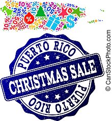 Christmas Sale Collage of Mosaic Map of Puerto Rico and Grunge Seal