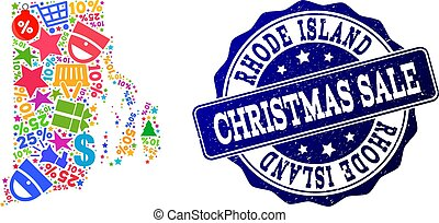 Christmas Sale Collage of Mosaic Map of Rhode Island State and Textured Stamp