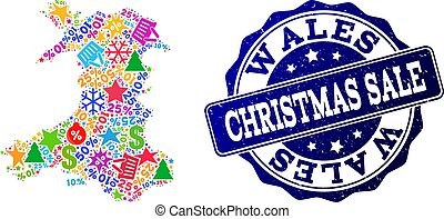 Christmas Sale Collage of Mosaic Map of Wales and Scratched Seal