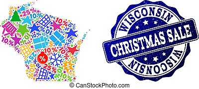 Christmas Sale Collage of Mosaic Map of Wisconsin State and Scratched Seal