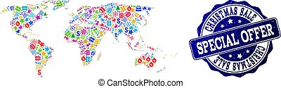 Christmas Sale Collage of Mosaic Map of World and Scratched Stamp