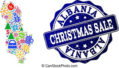 Christmas Sale Composition of Mosaic Map of Albania and Distress Stamp