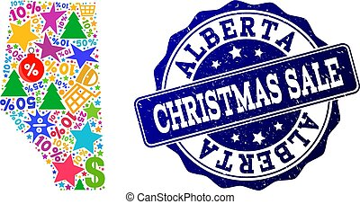 Christmas Sale Composition of Mosaic Map of Alberta Province and Scratched Stamp
