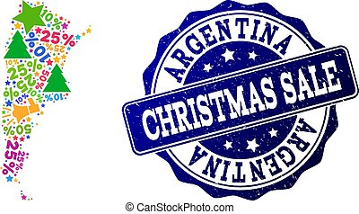 Christmas Sale Composition of Mosaic Map of Argentina and Textured Seal