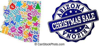Christmas Sale Composition of Mosaic Map of Arizona State and Grunge Stamp