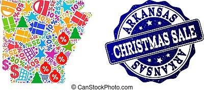 Christmas Sale Composition of Mosaic Map of Arkansas State and Grunge Seal