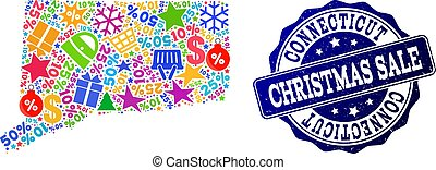 Christmas Sale Composition of Mosaic Map of Connecticut State and Scratched Stamp