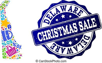 Christmas Sale Composition of Mosaic Map of Delaware State and Scratched Stamp