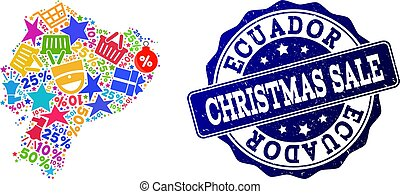 Christmas Sale Composition of Mosaic Map of Ecuador and Distress Stamp