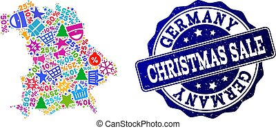 Christmas Sale Composition of Mosaic Map of Germany and Textured Seal
