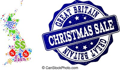 Christmas Sale Composition of Mosaic Map of Great Britain and Grunge Seal