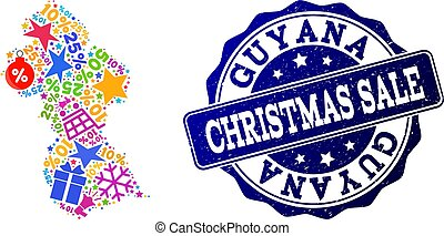 Christmas Sale Composition of Mosaic Map of Guyana and Scratched Seal