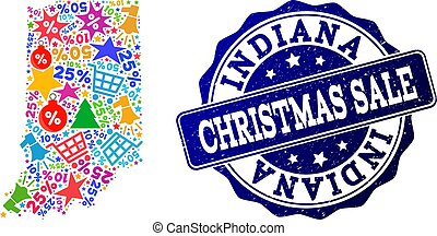 Christmas Sale Composition of Mosaic Map of Indiana State and Textured Seal