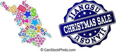 Christmas Sale Composition of Mosaic Map of Jiangsu Province and Scratched Stamp