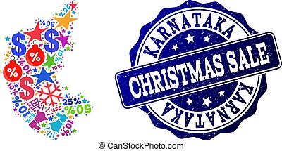 Christmas Sale Composition of Mosaic Map of Karnataka State and Textured Stamp