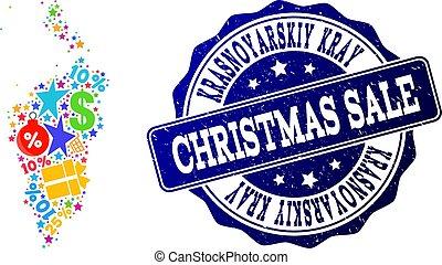 Christmas Sale Composition of Mosaic Map of Krasnoyarskiy Kray and Textured Stamp