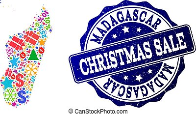 Christmas Sale Composition of Mosaic Map of Madagascar Island and Distress Stamp