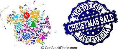 Christmas Sale Composition of Mosaic Map of Micronesia Island and Scratched Stamp