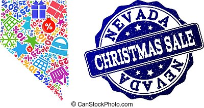 Christmas Sale Composition of Mosaic Map of Nevada State and Textured Seal