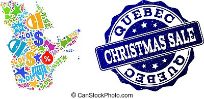Christmas Sale Composition of Mosaic Map of Quebec Province and Grunge Stamp