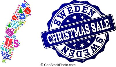 Christmas Sale Composition of Mosaic Map of Sweden and Grunge Seal