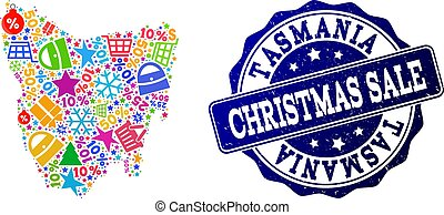 Christmas Sale Composition of Mosaic Map of Tasmania Island and Grunge Stamp