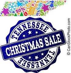 Christmas Sale Composition of Mosaic Map of Tennessee State and Grunge Stamp
