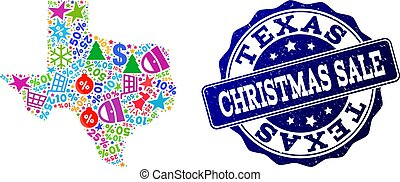 Christmas Sale Composition of Mosaic Map of Texas State and Distress Stamp