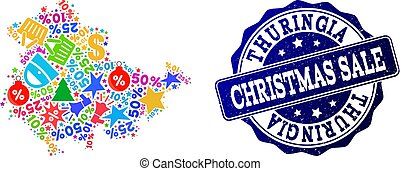 Christmas Sale Composition of Mosaic Map of Thuringia State and Distress Stamp