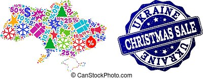 Christmas Sale Composition of Mosaic Map of Ukraine and Distress Stamp